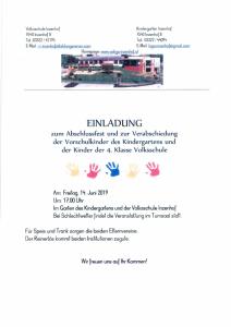 Einladung zum Abschlussfest und zur Verabschiedung der Vorschulkinder des Kindergartens und der Kinder der 4. Klasse Volksschule am 14. Juni 2019 um 17:00 Uhr