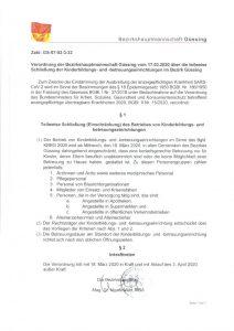Verordnung über die teilweise Schließung der Kinderbildungs- und -betreuungseinrichtungen im Bezirk Güssing