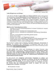 Das Burgenland testet! Massentest in Güssing im Zeitraum 13. bis 17. Jänner 2021